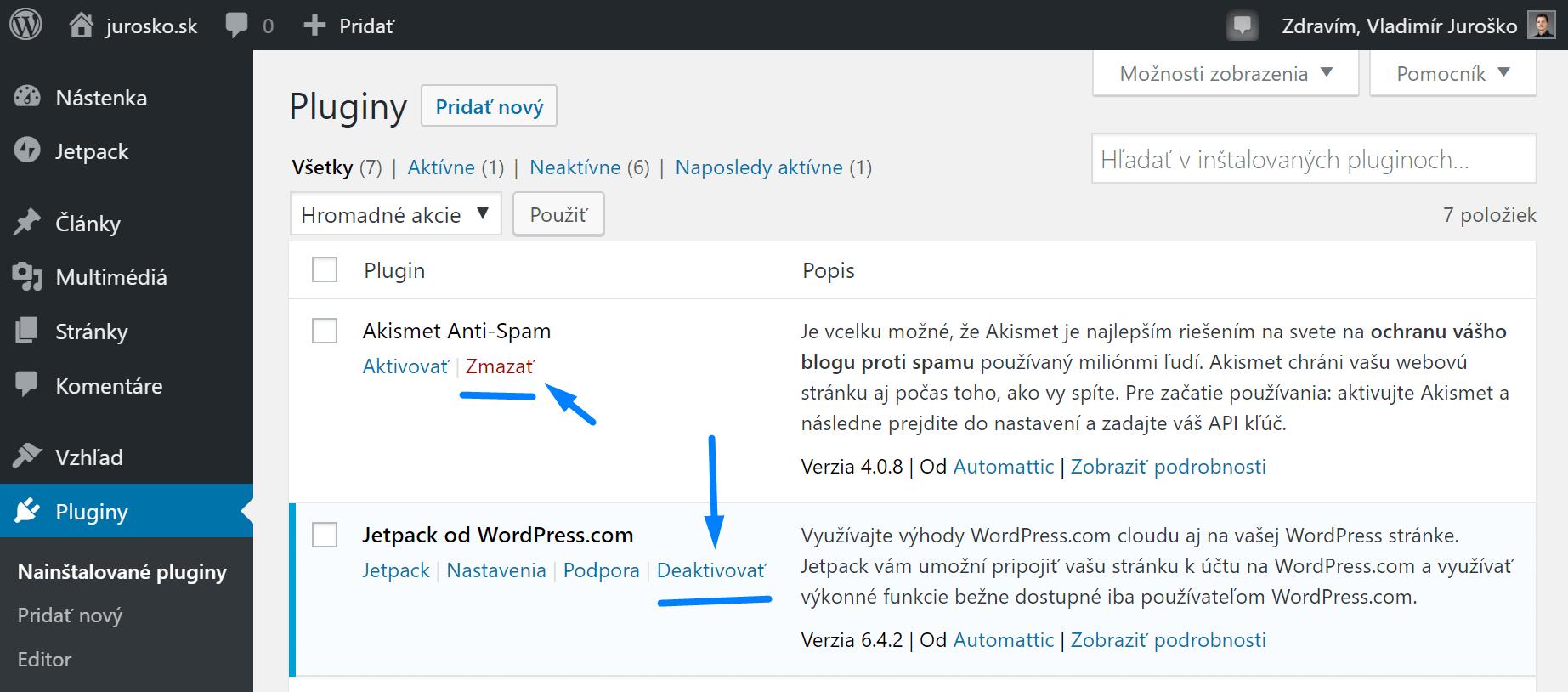 Deaktivovať / Zmazať WordPress plugin