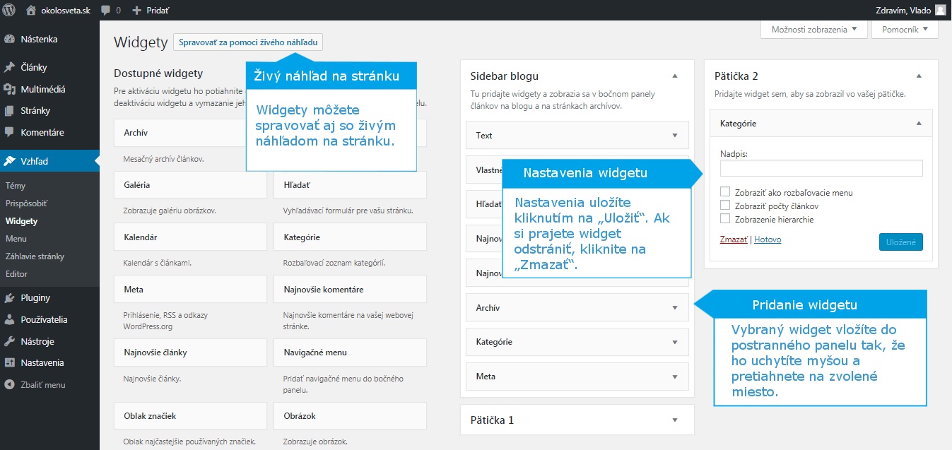 WordPress pridanie widgetu